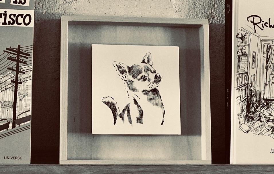 photo d'un portrait d'un chiwawa sur étagère